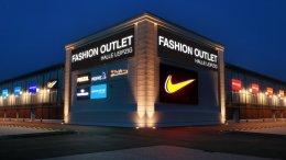 Shoppingcenter Fassade beleuchtet, Aussenwerbung