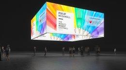 Box illuminato da soffitto, banner a soffitto, quadrato con grafica, banner per fiere, appendimento quadrato, quadrato luminoso, quadrato con motivo