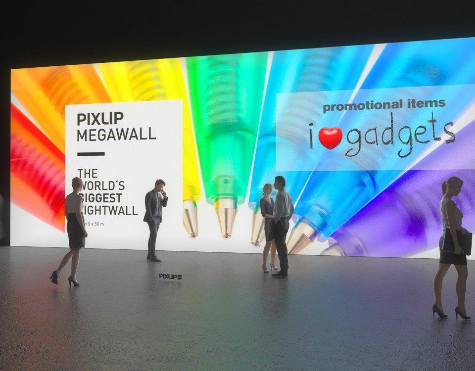Méga Lightwall, Mégawall, mur lumineux, mur éclairé, mur d'exposition, mur de lumière LED, mur pour salon, système de mur d'exposition, système de mur de lumière, Pixlip, exposition