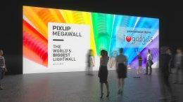Mur lumineux, mur pour salon, Lightwall, mur de lumière LED, mur éclairé, mur d'exposition, Méga-Wall, système de mur d'exposition, système de mur lumineux, Pixlip, exposition