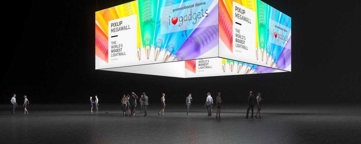 Exposição de banners suspensos, Banner de teto, Anel-grafismo, Exposição-banner, Anel de teto, Caixa de luz-teto, Anel de luz, Anel de tema