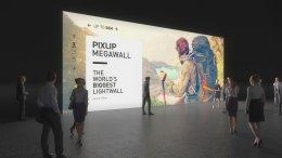 Exposição de parede de luz, Lightwall, Exposição de parede, Parede de luz, Parede de luz, Exposição-parede, Mega-Wall, Sistema de exposição de parede, Sistema da feira, Pixlip, Exposição