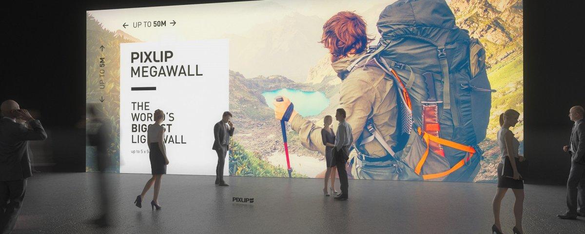 Mega Wall, Lightwall, Exposição de parede, Parede de luz, Parede de luz, Exposição-parede, Mega-Wall, Sistema de exposição de parede, Sistema da feira, Pixlip, Exposição