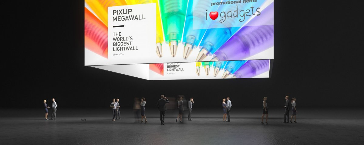 Выставочная потолочная подвеска — мегабаннер со светодиодной подсветкой